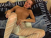 My hungry Russian girlfriend Irina takes off her wet white tights and dildo fucks pussy
