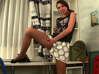 Kinky natural brunette teen with small tits masturbates her own pussy