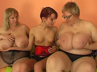 Two magnificent white mature BBW ladies with young slender girl