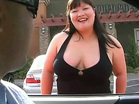 Cute Asian BBW street hooker diligently sucks massive dick