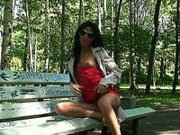 Fantastic brunette Russian teen in red dress shows her goodies