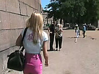 Fantastic and slutty blonde Russian girl shows her goodies in public places
