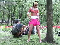 Fantastic amateur Russian girl in pink dress flashes goodies outdoors