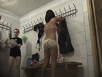 Sexy blondie and brunette milf filmed nude in the locker room
