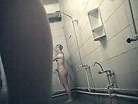 A lovely slender ass of a stranger white girl filmed closeup on hidden cam in the shower