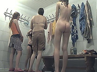 Pale skin white amateur stranger girls in the locker room on hidden cam