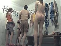 Pale skin white amateur stranger girls in the locker room on hidden cam