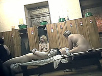 Mature white ladies in the locker room of the shower recorded on cam