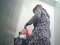 Chunky white stranger girl got her ass filmed on hidden voyeur cam
