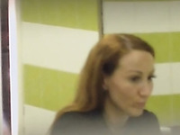 Redhead beautiful woman in the public restroom spied and filmed on cam