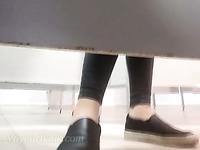 White amateur teen in black panties and sneakers filmed in the toilet