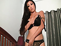 Rather tanned long haired webcam Asian nympho flashed her dope big tits