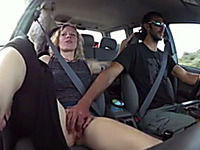 Lusty spoiled blond haired wife of my buddy let him finger her cunt in the car