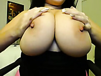 Awesome perfect brunette MILF shows off huge boobies and lures me
