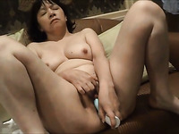 Kinky quite worn out slutty brunette lady was petting her wet pussy