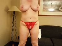 White haired lusty BBW in red lingerie exposed huge boobies and went solo