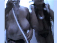Two naughty cam whores with really huge saggy tits were taking a shower