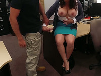 Busty brunette MILF fucked by pawn man at the pawnshop