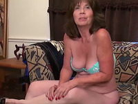 Lascivious mature granny stuffs her asshole with her favorite sex toy
