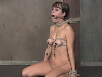 Sweet white lady bound to the post naked and clamped