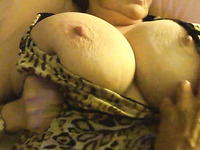 Mature webcam spoiled whore was playing with her ugly huge boobs
