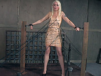 Beautiful blonde milf babe is thrilled and scared in BDSM basement