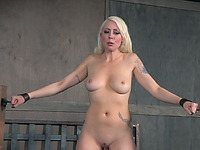 Gorgeous busty blonde hottie got shackled and undressed