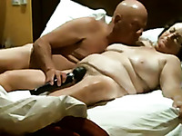 Amateur mature chubby housewife rides her bald headed hubby on top