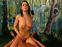Fine lean white sexy slut eats dick and rides it on the bed