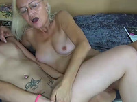 This old lady is much older than me and she loves lesbian sex
