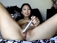 Long haired Asian sweet cam babe with natural tits used toy for her cunt