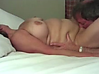 Stolen amateur pussy licking video of mature couple having sex in the hotel room