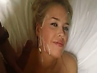 Beautiful and lusty blonde girlfriend is happy for facial