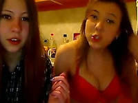 Two fresh and skanky teen chicks striptease on webcam