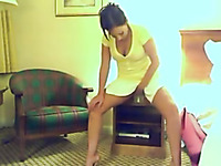 Lusty amateur cam whore in yellow short dress masturbated her wet cunt