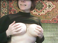 Hilarious mature slut stripteased for my buddy to show off her big tits