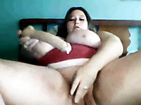 Horn-mad chubby bitch with really huge boobs masturbated her wet pussy