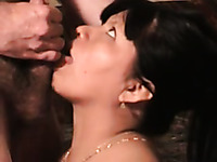 Latina chubby wife with big saggy tits gives a nice solid blowjob