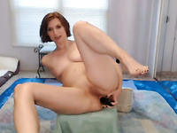 Sweet short haired emotional MILF uses a 12 inch dildo for her solo