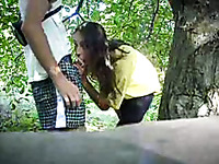 Lusty amateur picked up bitch is fucked doggy near the tree