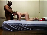 Sweet blonde girlfriend of my buddy works on his massive black dick
