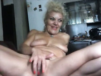 Mature ugly used harlot with disgusting tits masturbates her mature cunt