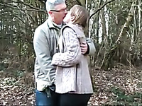 Awesome outdoor blowjob performed by light haired charming lady