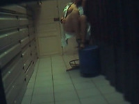 CCTV cam caught bootyful blonde nympho being fucked doggy at work