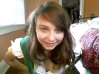 Cute and a bit awkward webcam show by charming all natural teen