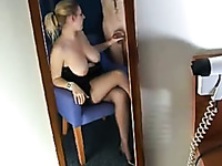 Depraved amateur blonde MILF flashes her big tits while jerking cock