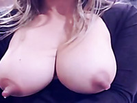Astonishing webcam blonde MILF was playing with really huge nipples