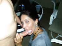 Pallid quite sexy brunette MILF works on my friend's strong lollicock