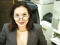 This sexy bitch is a real office slut and she loves to masturbate for me