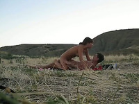 Wild and nasty Russian couple fucking on the picnic field